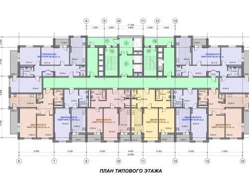 Жилой дом возле Дарницкой площади. План типового этажа