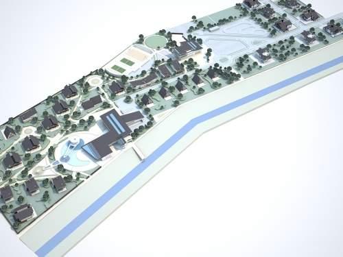 Общественный центр коттеджного городка на реке Здвиж