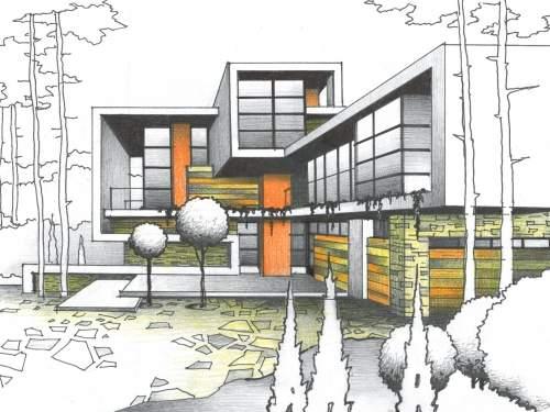 Дом в стиле Фрэнк Ллойд Райт. Креативное решение для коттеджного городка